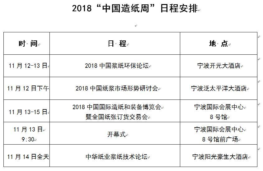 """2018""""中国造纸周""""日程安排"""